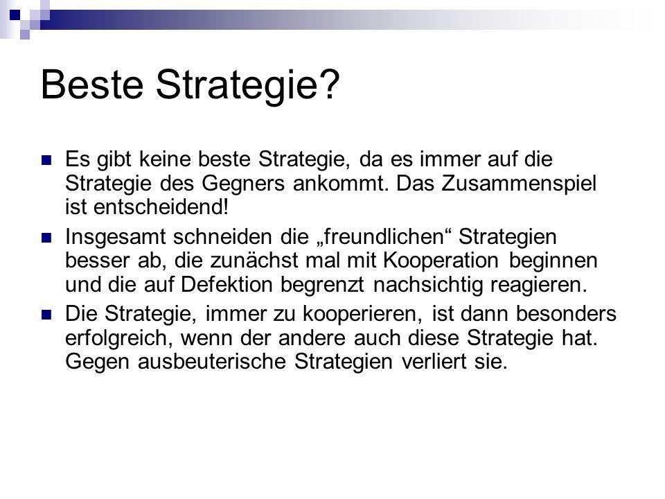 Beste Strategie Es gibt keine beste Strategie, da es immer auf die Strategie des Gegners ankommt. Das Zusammenspiel ist entscheidend!