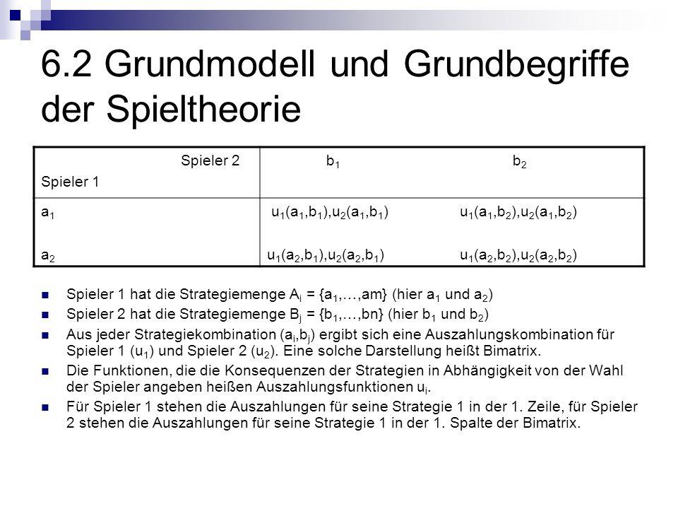 6.2 Grundmodell und Grundbegriffe der Spieltheorie