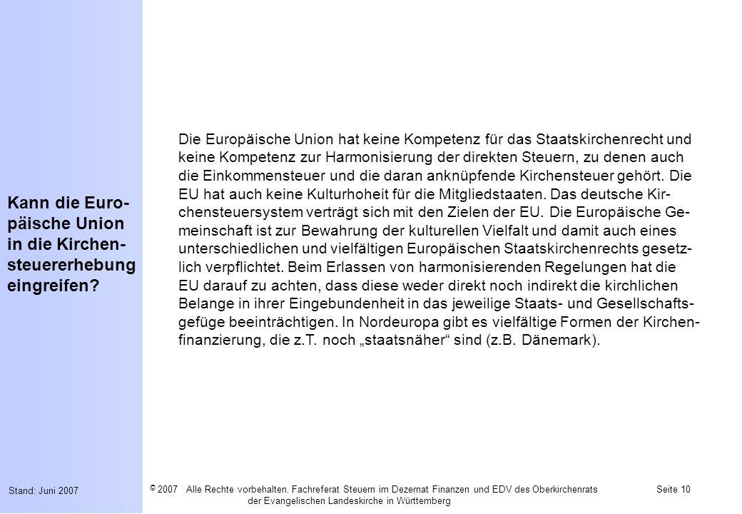 Kann die Euro-päische Union in die Kirchen-steuererhebung eingreifen
