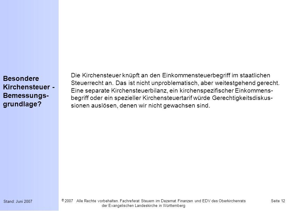 Besondere Kirchensteuer - Bemessungs-grundlage