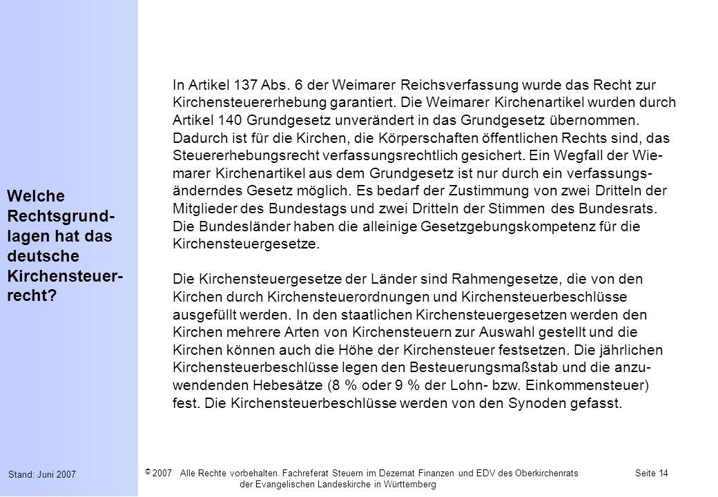 Welche Rechtsgrund-lagen hat das deutsche Kirchensteuer-recht