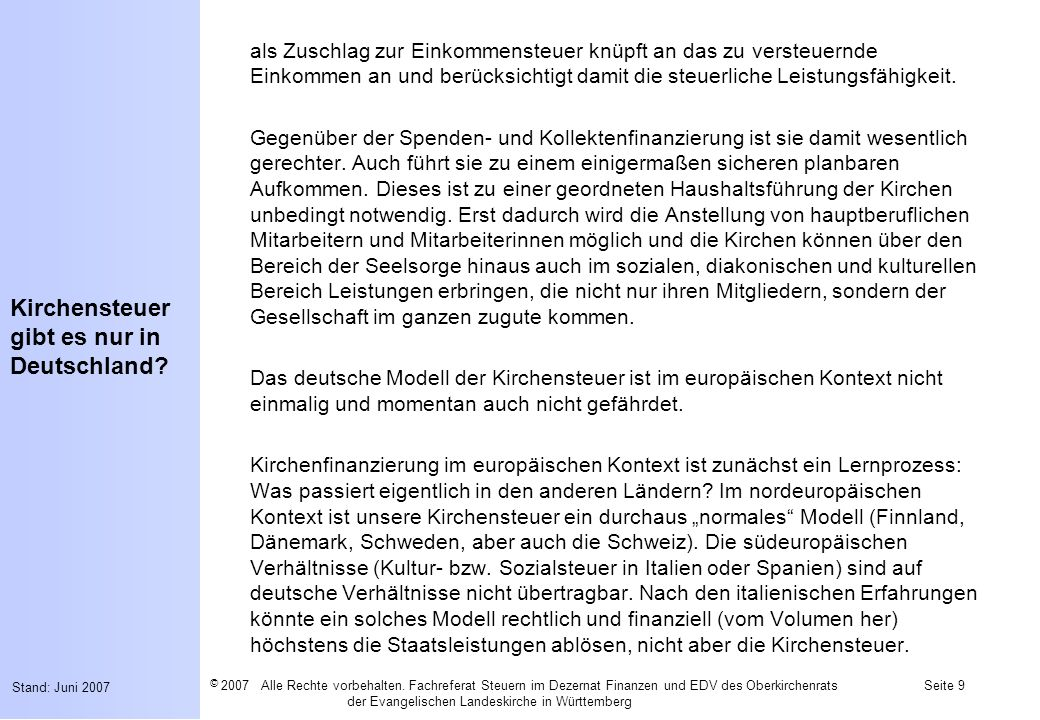 Kirchensteuer gibt es nur in Deutschland