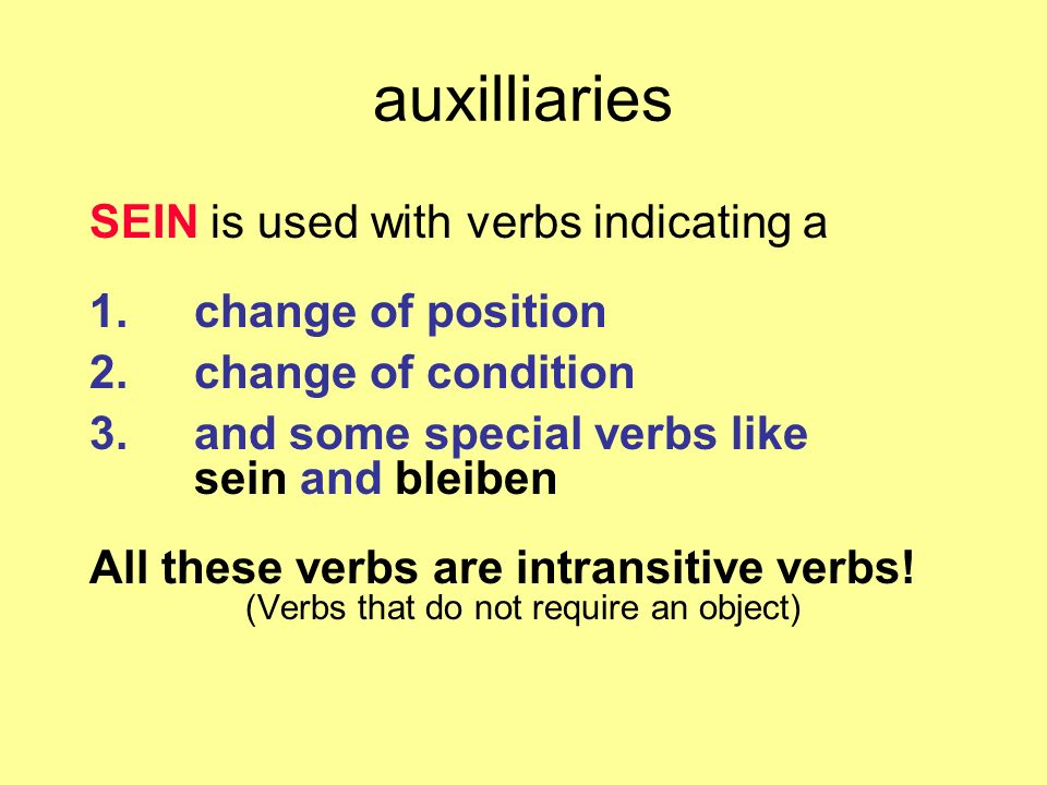 (Verbs that do not require an object)