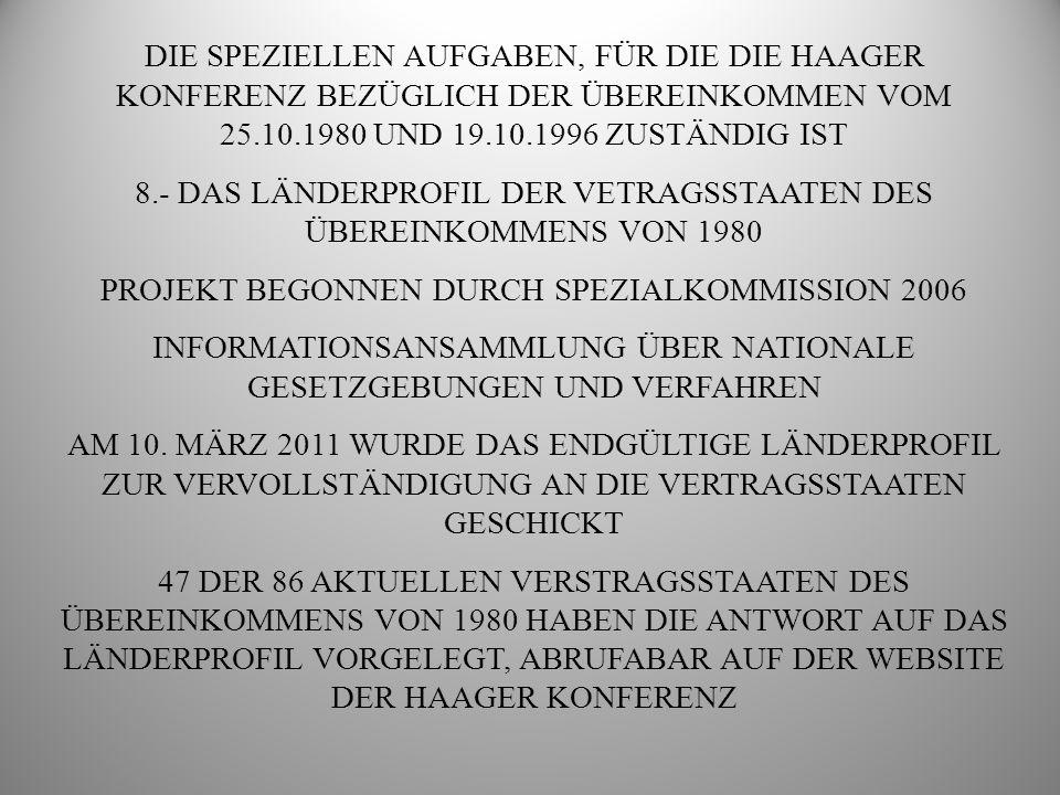 8.- DAS LÄNDERPROFIL DER VETRAGSSTAATEN DES ÜBEREINKOMMENS VON 1980