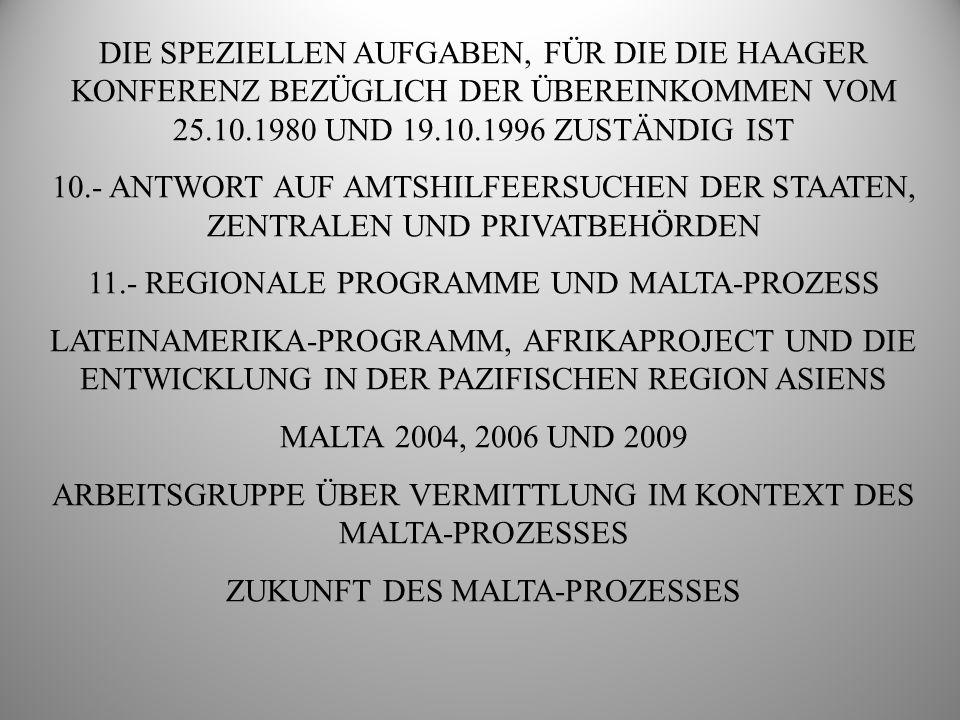 11.- REGIONALE PROGRAMME UND MALTA-PROZESS