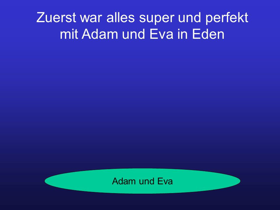 Zuerst war alles super und perfekt mit Adam und Eva in Eden