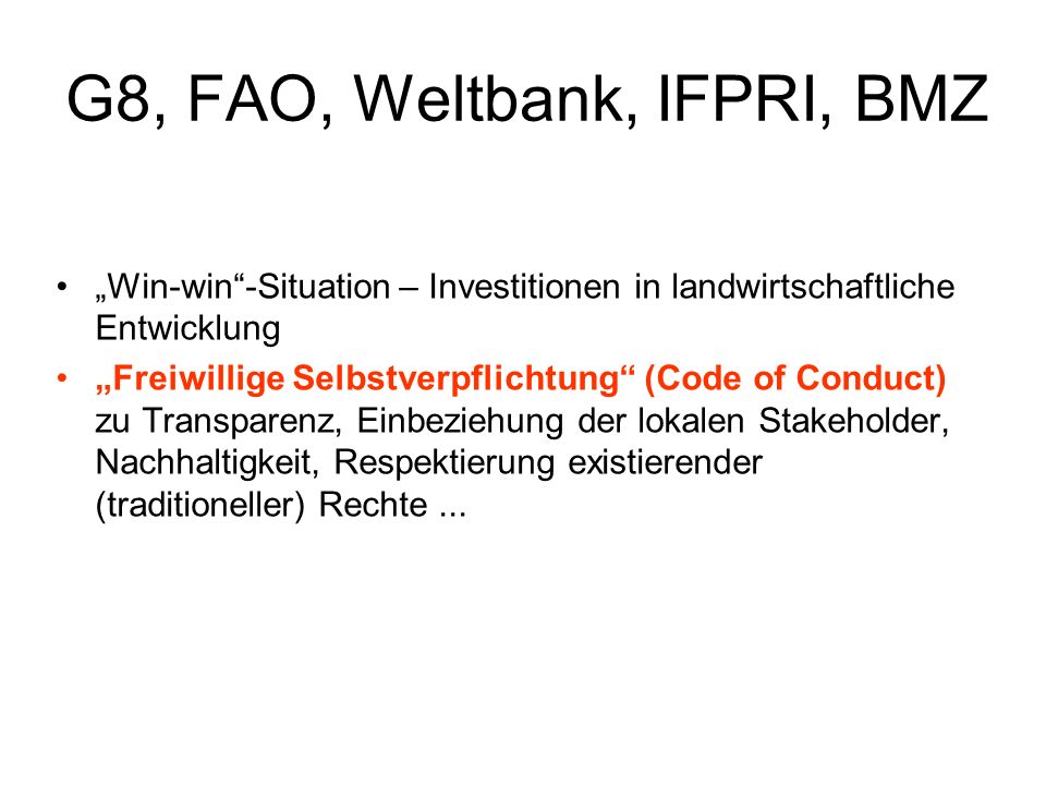 G8, FAO, Weltbank, IFPRI, BMZ