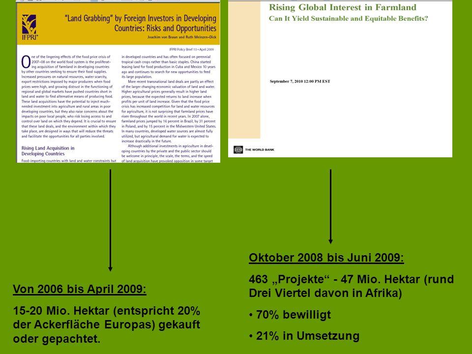"""Oktober 2008 bis Juni 2009: 463 """"Projekte - 47 Mio. Hektar (rund Drei Viertel davon in Afrika) 70% bewilligt."""