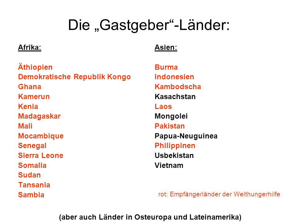 """Die """"Gastgeber -Länder:"""