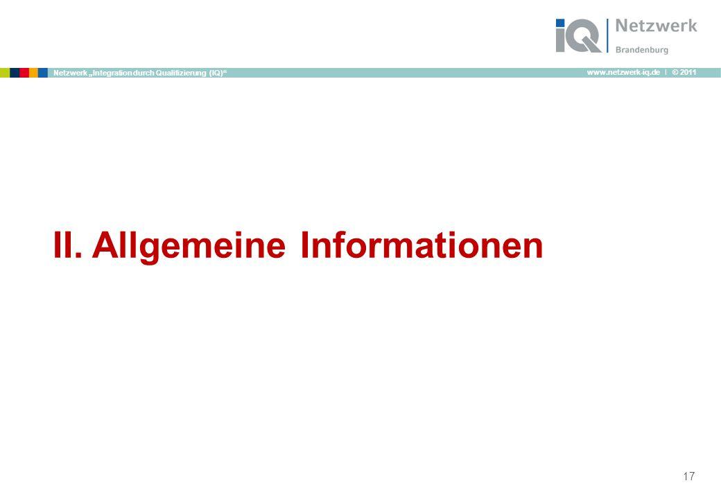 II. Allgemeine Informationen