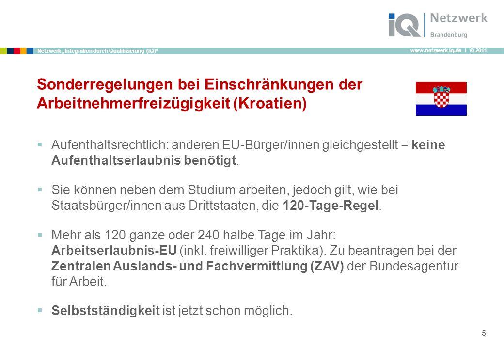 Sonderregelungen bei Einschränkungen der Arbeitnehmerfreizügigkeit (Kroatien)