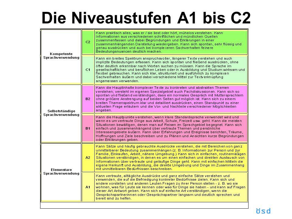 Die Niveaustufen A1 bis C2