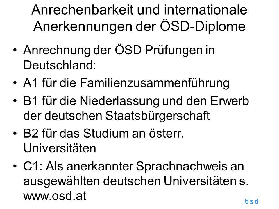 Anrechenbarkeit und internationale Anerkennungen der ÖSD-Diplome