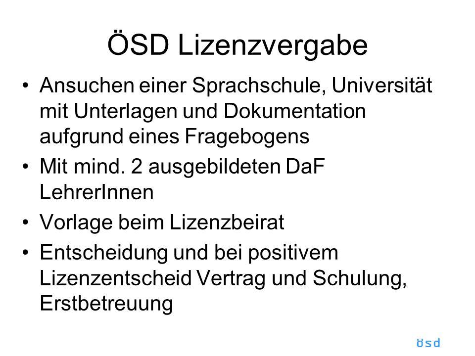 ÖSD Lizenzvergabe Ansuchen einer Sprachschule, Universität mit Unterlagen und Dokumentation aufgrund eines Fragebogens.