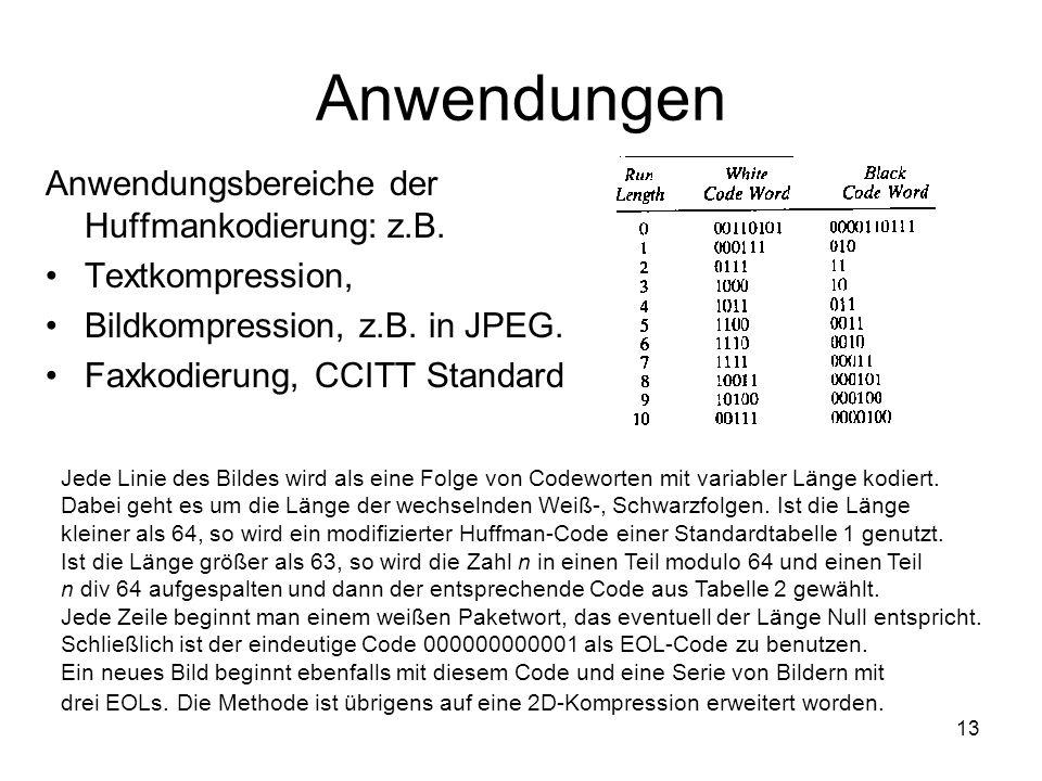 Anwendungen Anwendungsbereiche der Huffmankodierung: z.B.