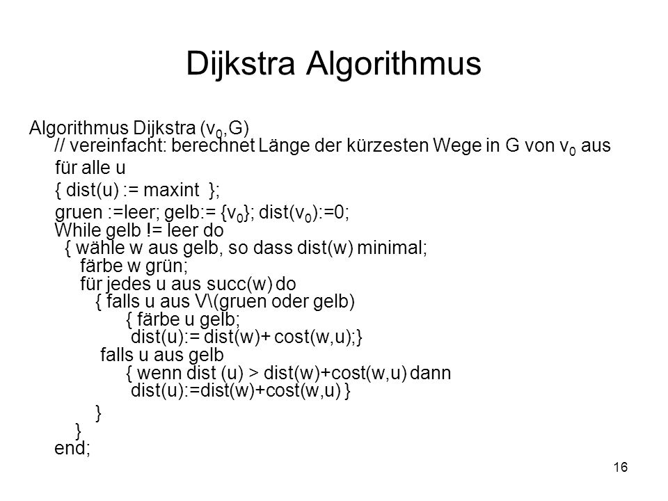 Dijkstra Algorithmus Algorithmus Dijkstra (v0,G) // vereinfacht: berechnet Länge der kürzesten Wege in G von v0 aus.
