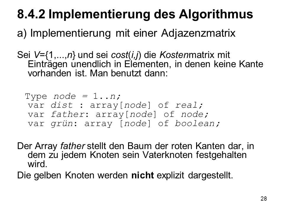 8.4.2 Implementierung des Algorithmus a) Implementierung mit einer Adjazenzmatrix