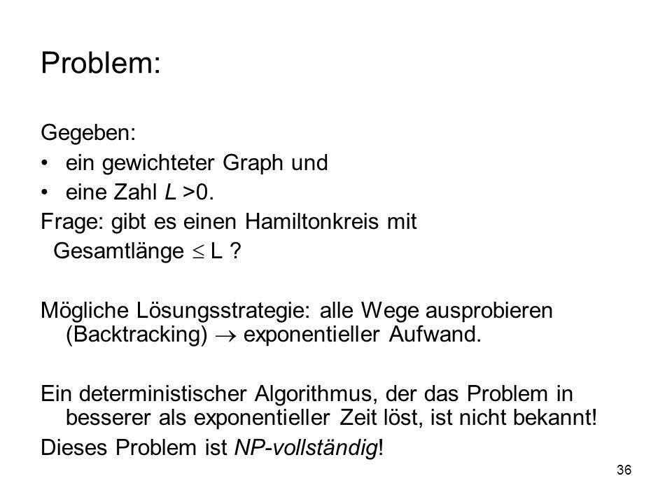 Problem: Gegeben: ein gewichteter Graph und eine Zahl L >0.