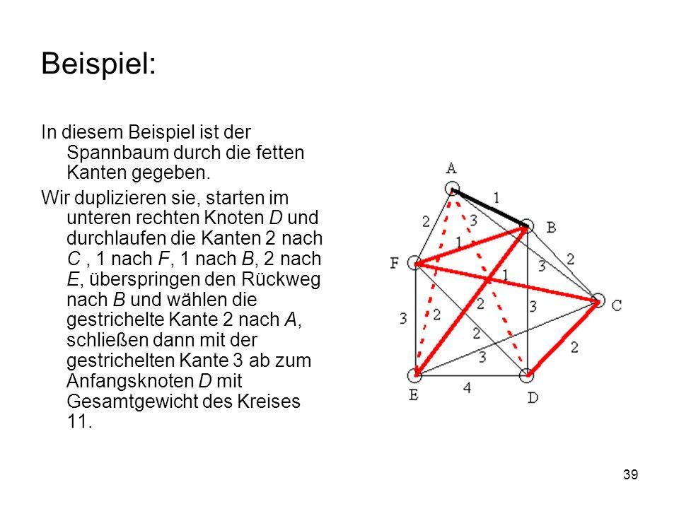 Beispiel: In diesem Beispiel ist der Spannbaum durch die fetten Kanten gegeben.