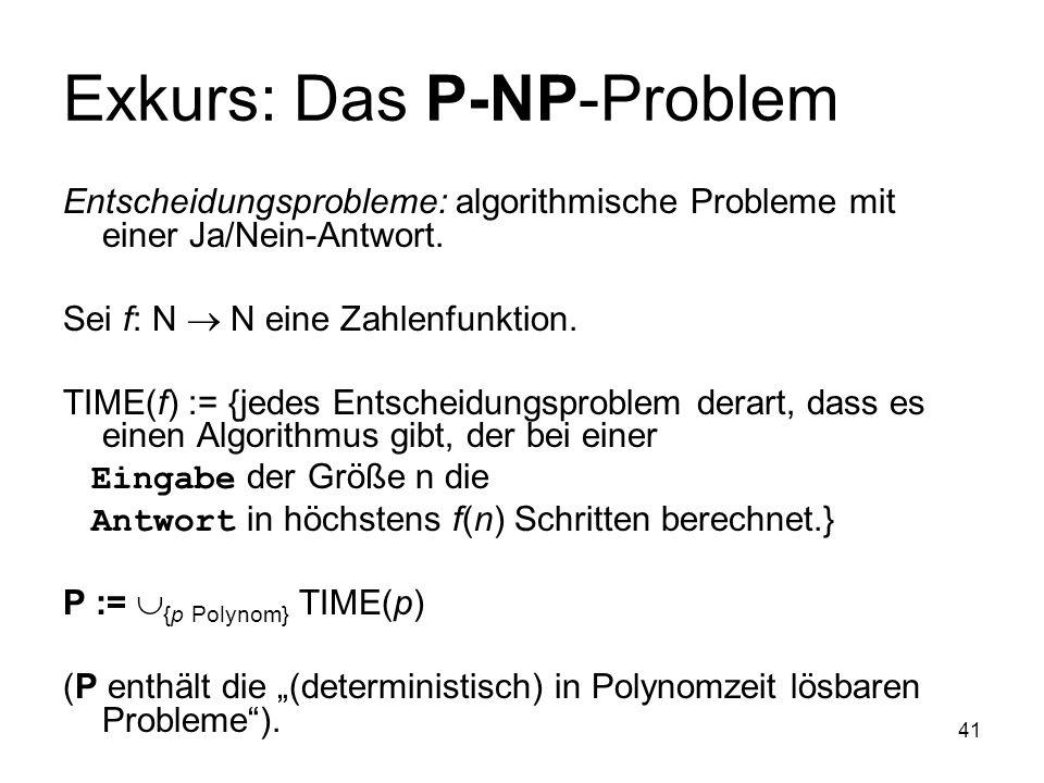Exkurs: Das P-NP-Problem