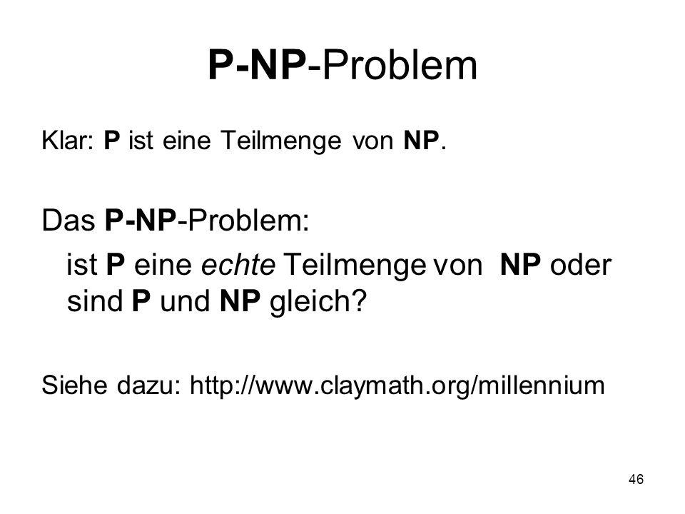 P-NP-Problem Das P-NP-Problem: