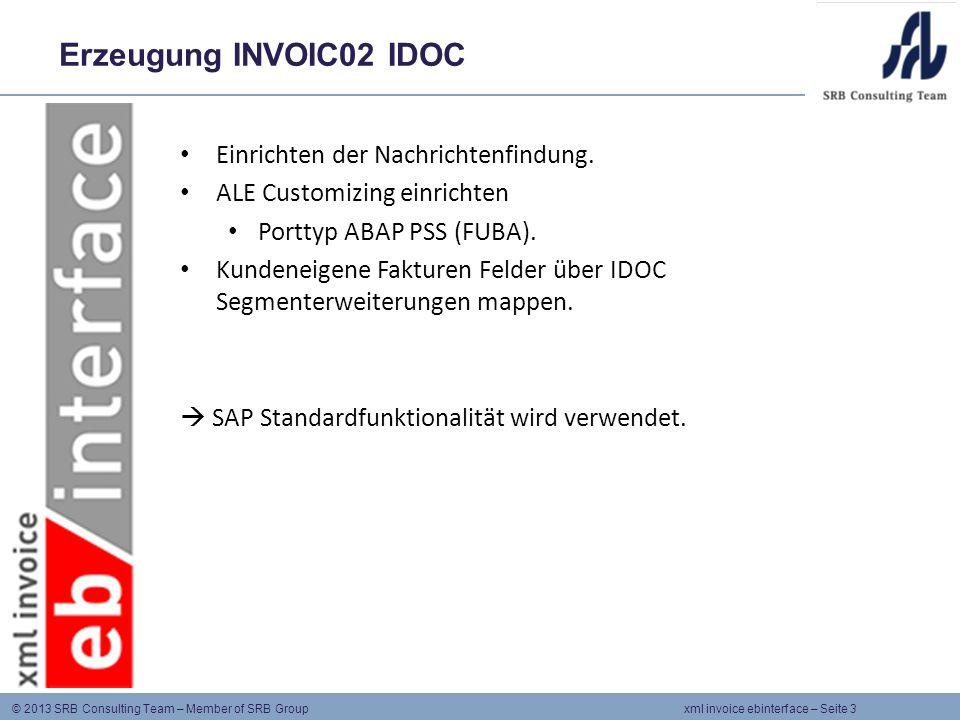 Erzeugung INVOIC02 IDOC Einrichten der Nachrichtenfindung.