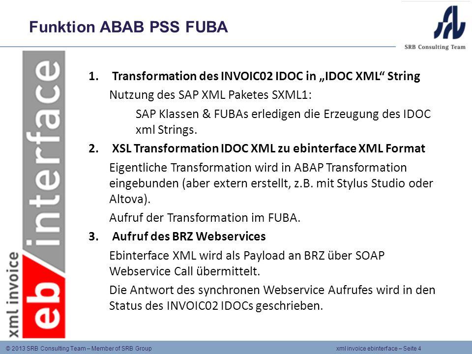 "Funktion ABAB PSS FUBA Transformation des INVOIC02 IDOC in ""IDOC XML String. Nutzung des SAP XML Paketes SXML1:"