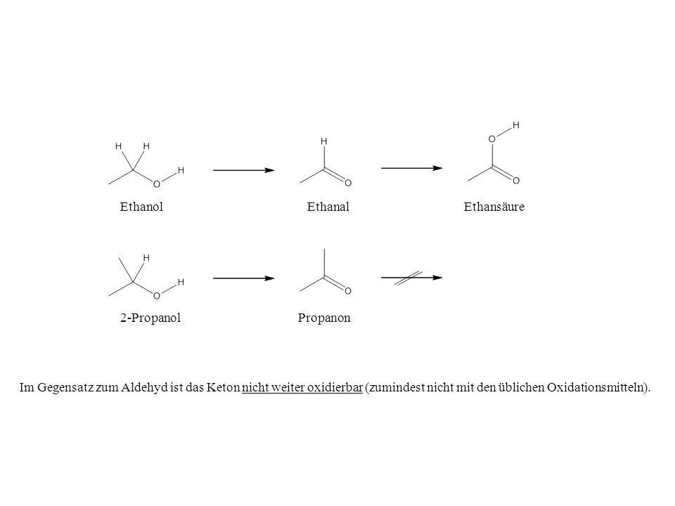 Ethanol Ethanal. Ethansäure. 2-Propanol. Propanon.