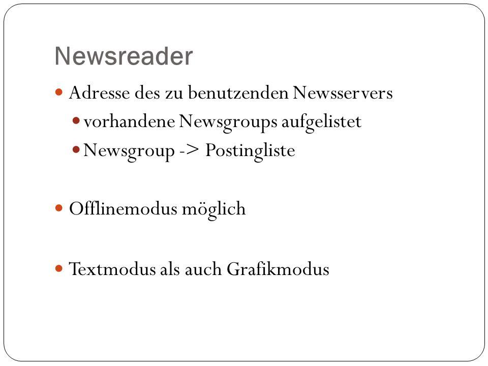 Newsreader Adresse des zu benutzenden Newsservers