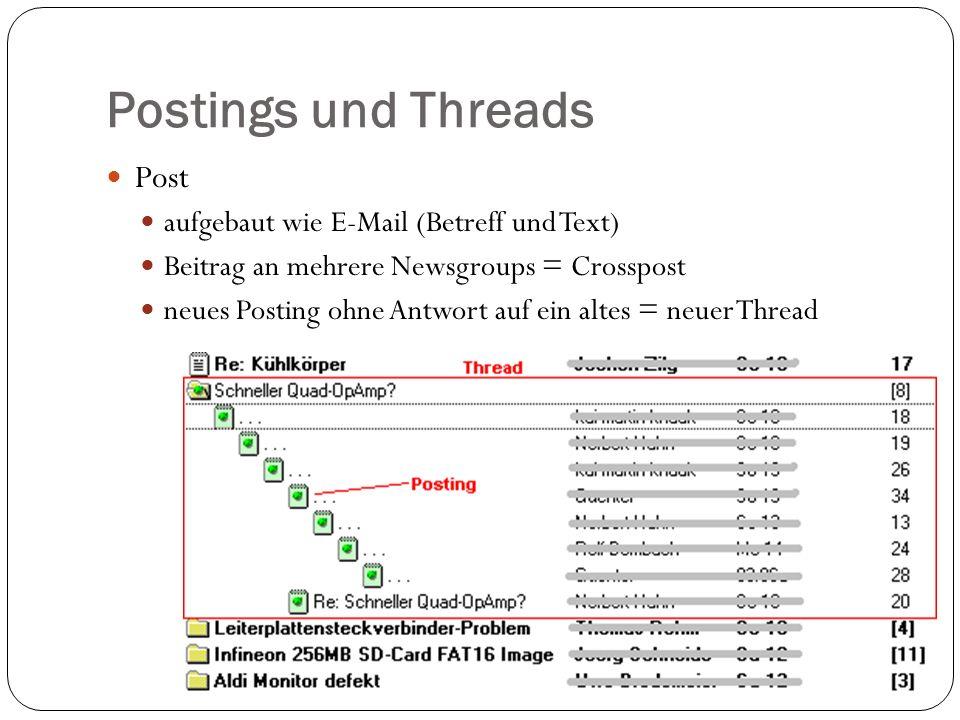 Postings und Threads Post aufgebaut wie E-Mail (Betreff und Text)