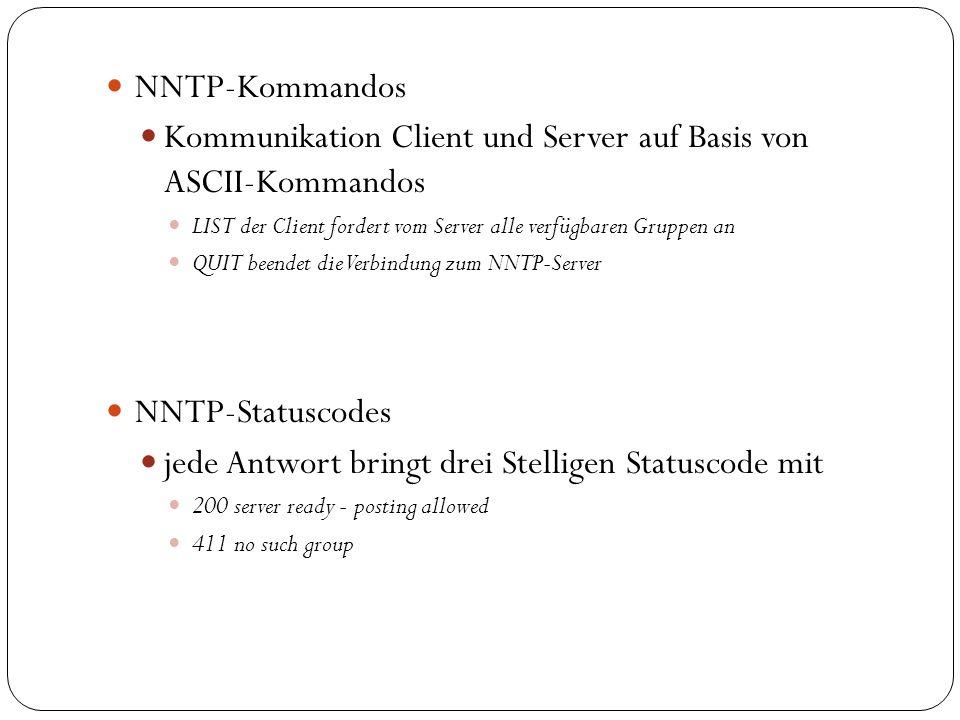 Kommunikation Client und Server auf Basis von ASCII-Kommandos