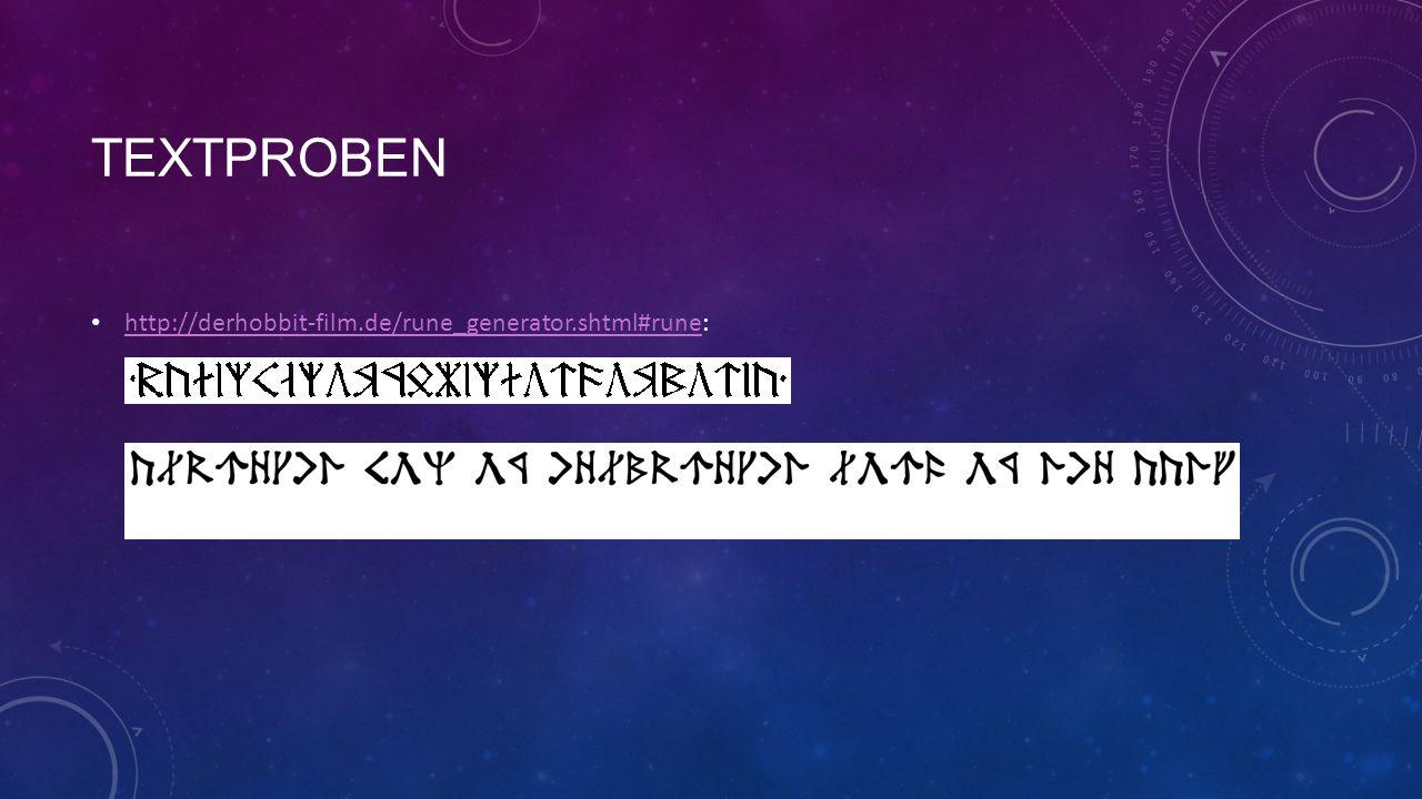 Textproben http://derhobbit-film.de/rune_generator.shtml#rune: