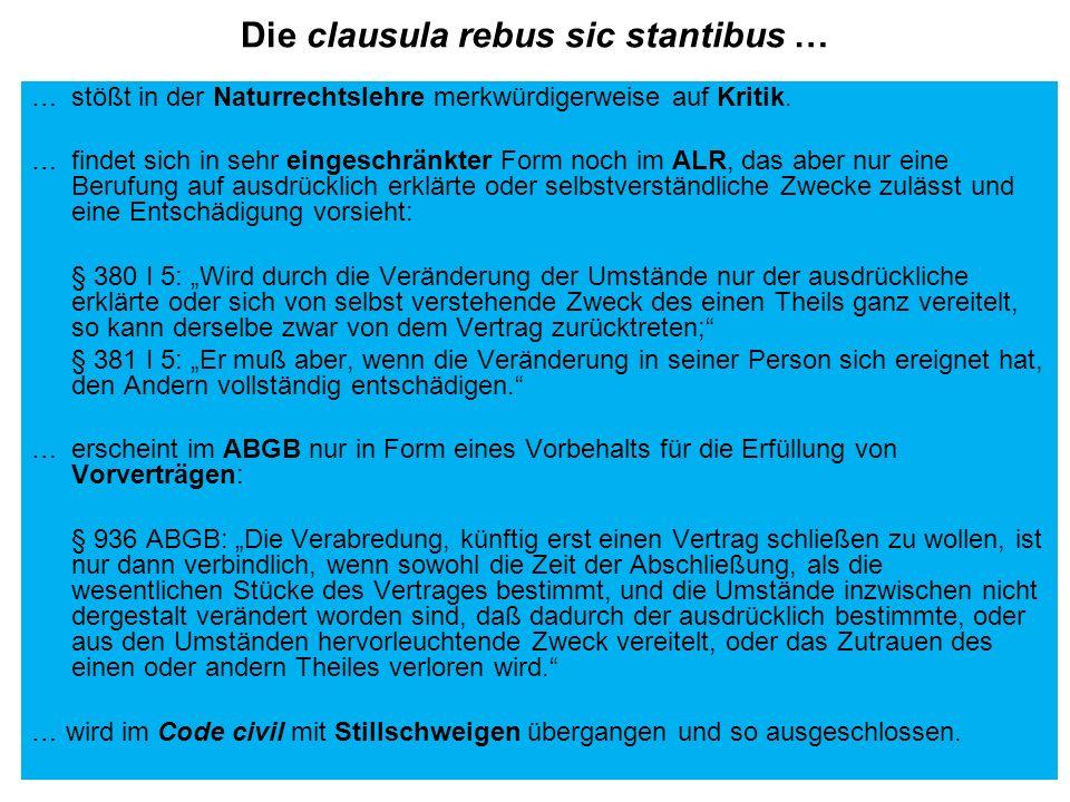 Die clausula rebus sic stantibus …