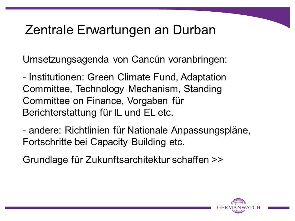 Zentrale Erwartungen an Durban