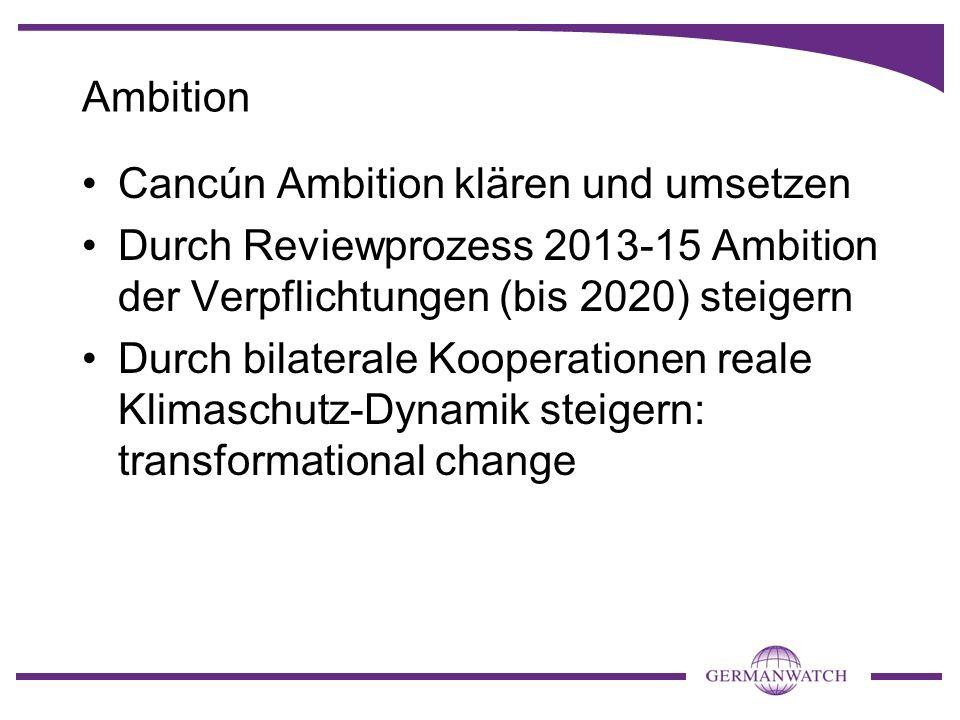 Ambition Cancún Ambition klären und umsetzen. Durch Reviewprozess 2013-15 Ambition der Verpflichtungen (bis 2020) steigern.