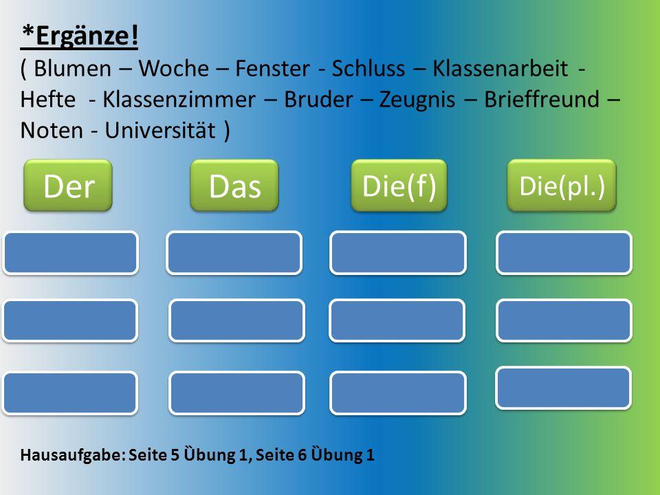 Der Das Die(f) *Ergänze! Die(pl.)