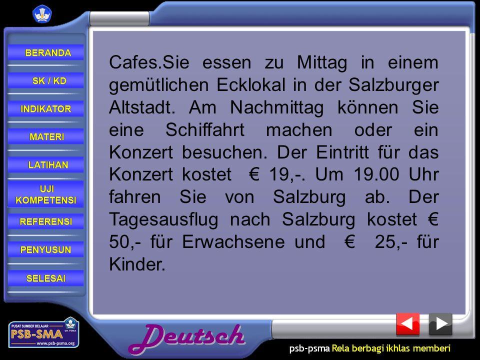 Cafes.Sie essen zu Mittag in einem gemütlichen Ecklokal in der Salzburger Altstadt.