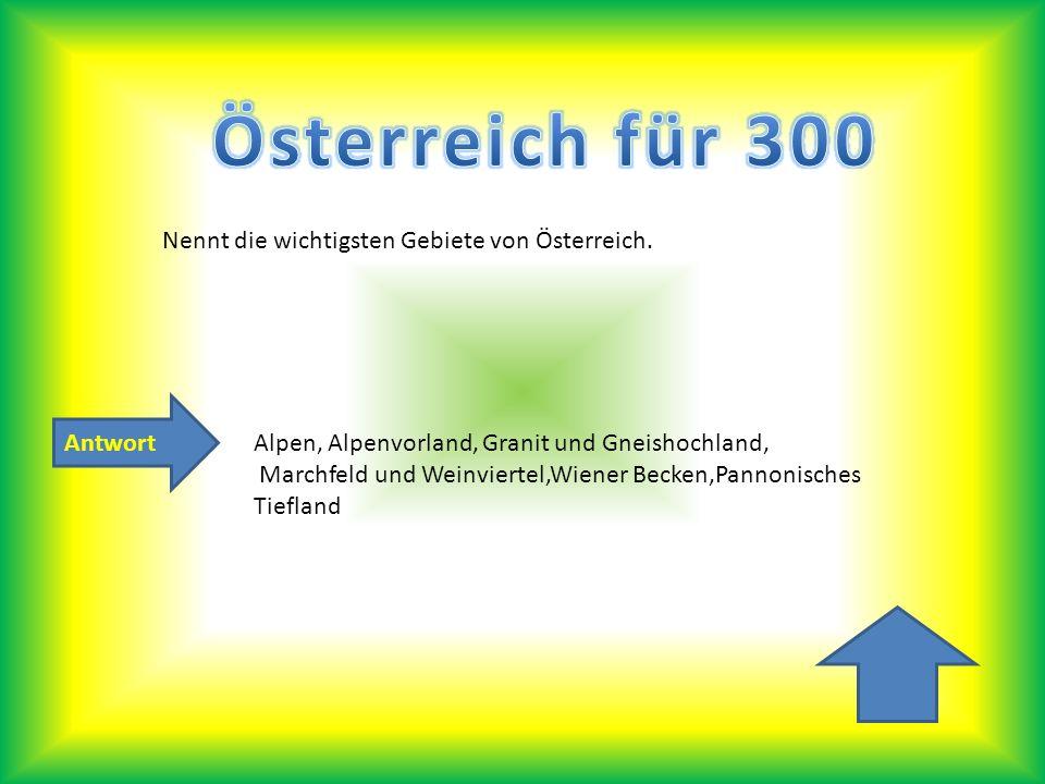 Österreich für 300 Nennt die wichtigsten Gebiete von Österreich.