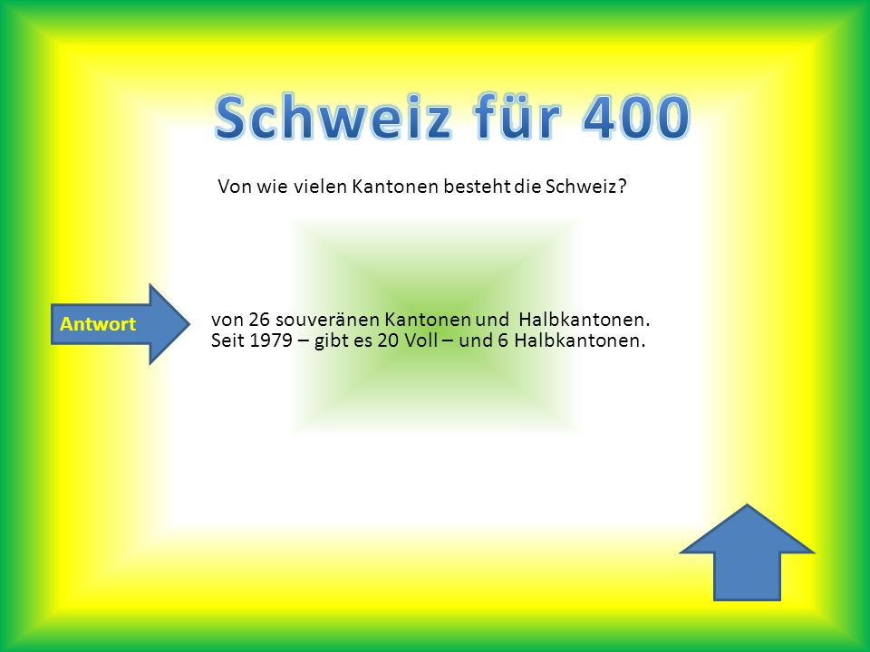 Schweiz für 400 Von wie vielen Kantonen besteht die Schweiz Antwort