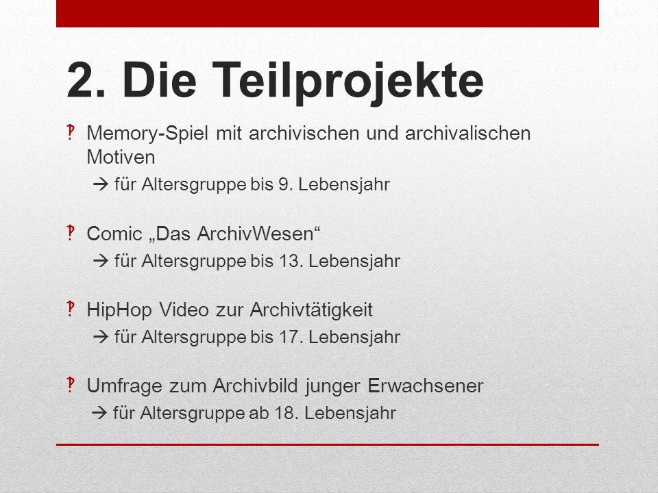 2. Die Teilprojekte Memory-Spiel mit archivischen und archivalischen Motiven.  für Altersgruppe bis 9. Lebensjahr.