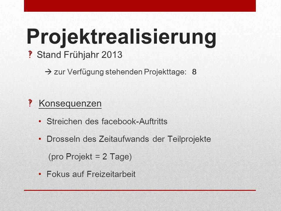 Projektrealisierung Stand Frühjahr 2013 Konsequenzen