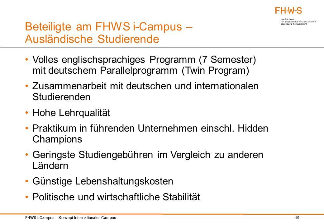 Beteiligte am FHWS i-Campus – Ausländische Studierende
