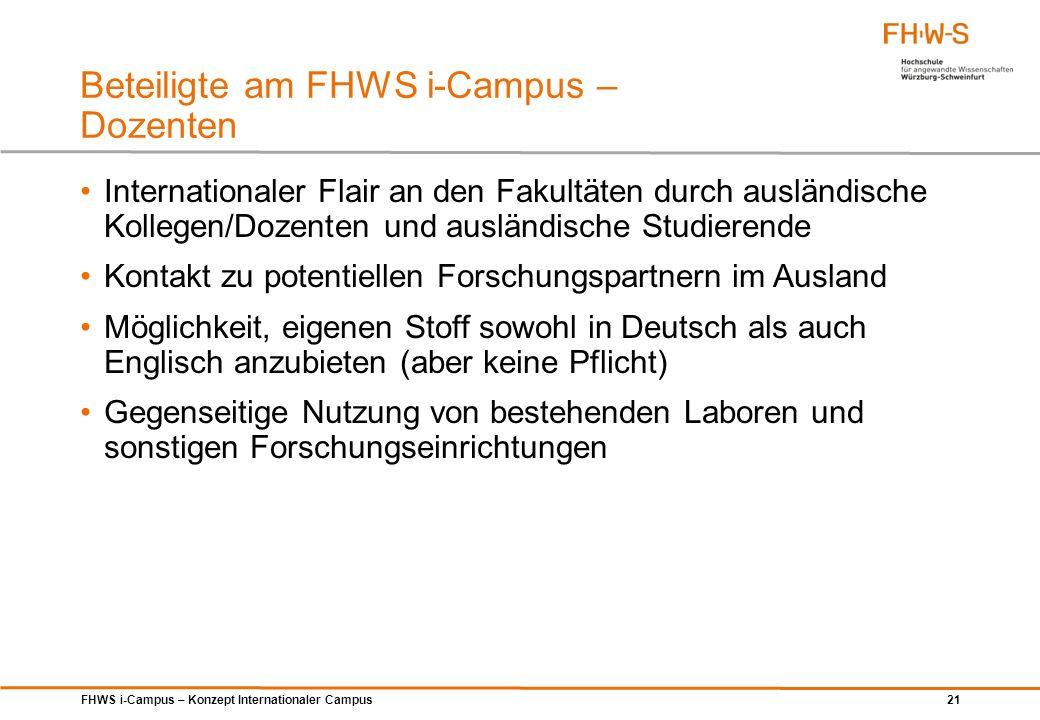 Beteiligte am FHWS i-Campus – Dozenten