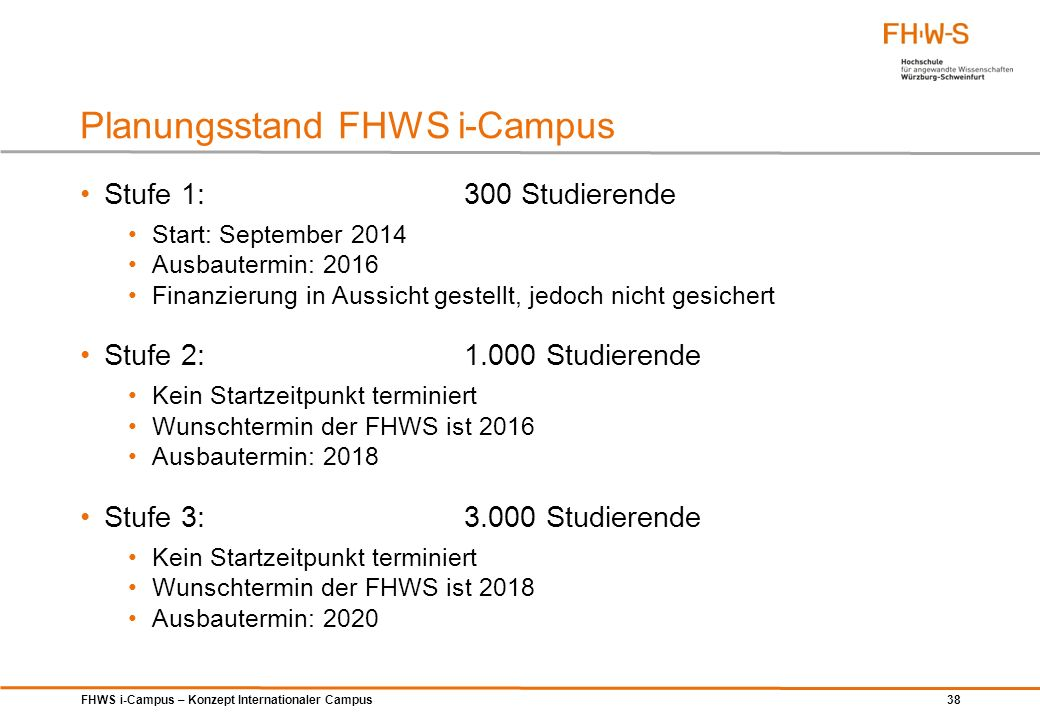 Planungsstand FHWS i-Campus