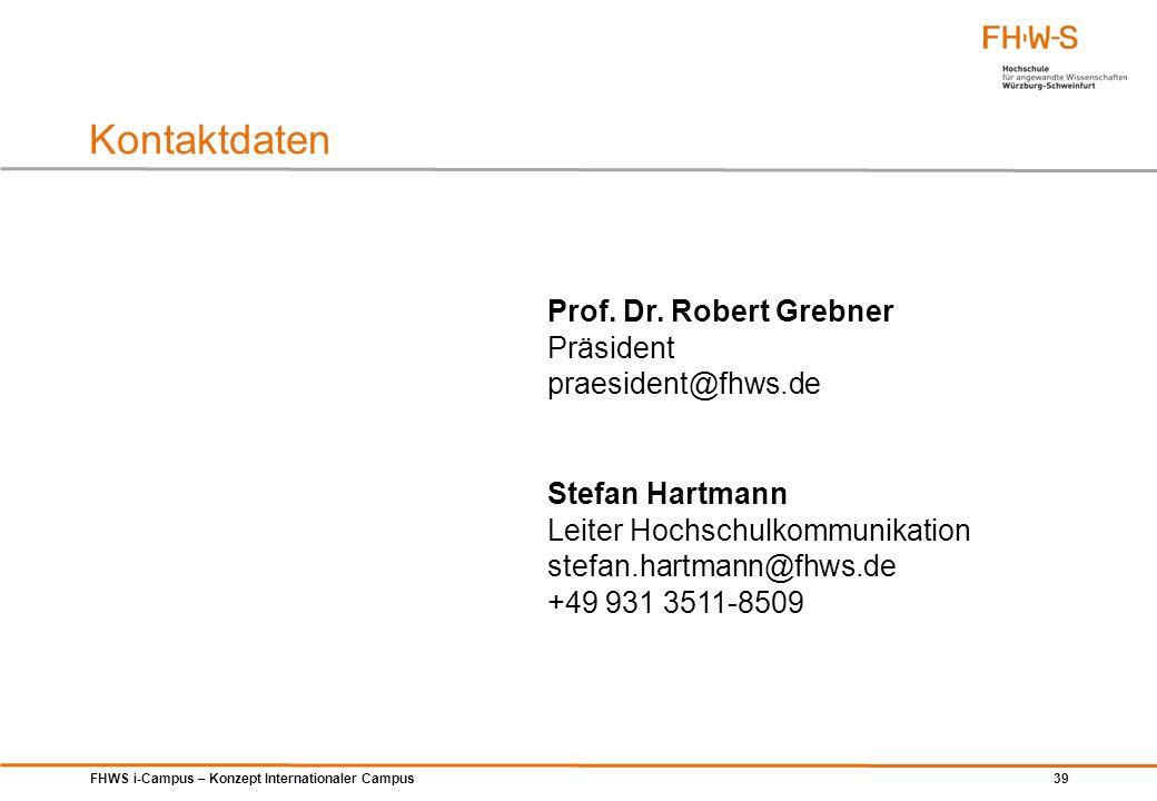 Kontaktdaten Prof. Dr. Robert Grebner Präsident praesident@fhws.de