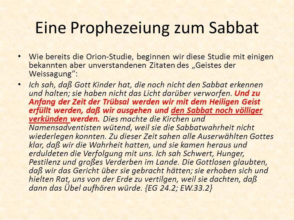Eine Prophezeiung zum Sabbat