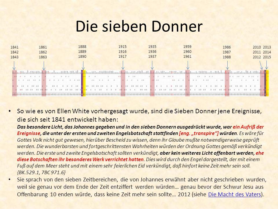 Die sieben Donner 1841 1842 1843. 1861 1862 1863. 1888 1889 1890. 1915 1916 1917. 1935 1936 1937.