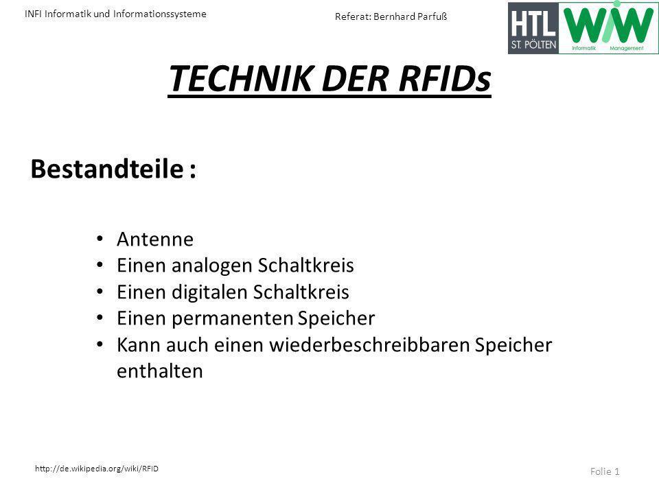 TECHNIK DER RFIDs Bestandteile : Antenne Einen analogen Schaltkreis