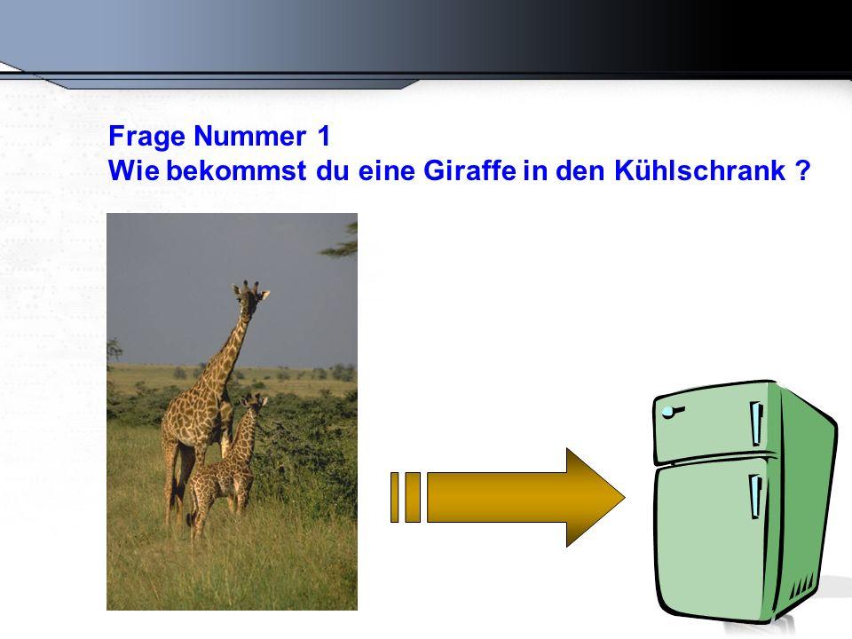 Frage Nummer 1 Wie bekommst du eine Giraffe in den Kühlschrank