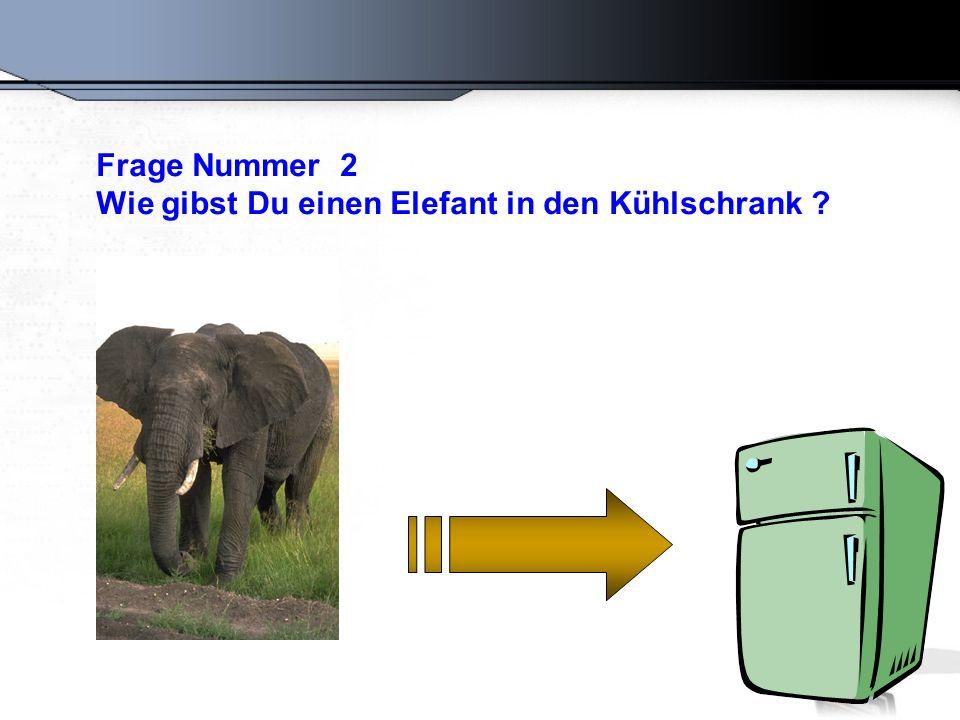 Frage Nummer 2 Wie gibst Du einen Elefant in den Kühlschrank